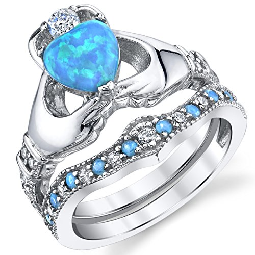 Sterling Silver 925 Heart Shape Claddagh Engagement Ring Wedding Bridal Sets with Blue Simulated Opal 6