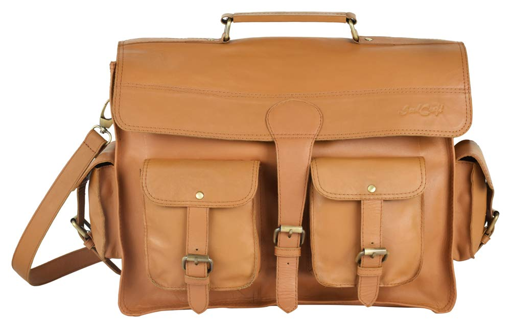 SoulCraft 15 Inch Handmade Genuine Leather Laptop Messenger Bag Tan Color