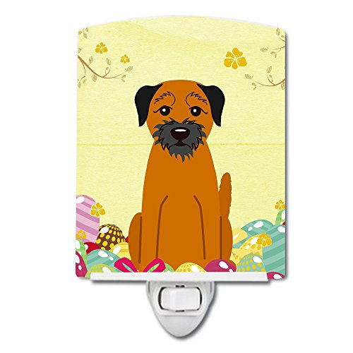 Caroline's Treasures Easter Eggs Border Terrier Ceramic Night Light 6x4 Multicolor