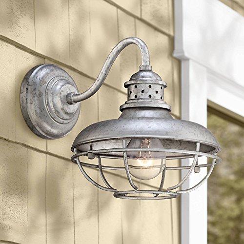 (Franklin Park Rustic Farmhouse Outdoor Barn Light Fixture Galvanized Steel Open Cage 13