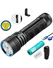 Olight Seeker 2 Pro Flashlight 3200 lumens / 250 Meters 3 LEDs Powerful Rechargeable Side-Switch LED Torches, with 21700 Battery +Tidusky Battery case