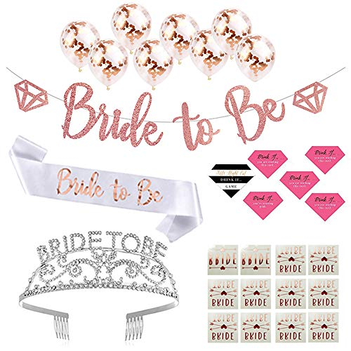 Par-T Bachelorette Party Supplies Rose Gold Pink Kit - Bride to be Crown, Sash, Banner, 12 Bride Tribe Tattoos, Drink if Game, 8 Balloons