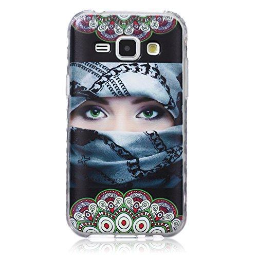 [Extremadamente Delgada] Funda 3D Silicona Transparent para Samsung Galaxy J1 (2015) ,Funda TPU Ultra Slim para Samsung Galaxy J1 (2015) , TOCASO Case Fina Slim Fit Cristal Clear, Transparent Slicona  Muchacha Enmascarada