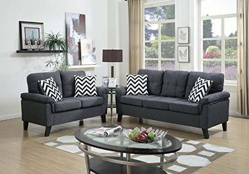 (Poundex F6905 Bobkona Tyler Linen-Like 2 Piece Sofa and Loveseat Set, Blue Grey)