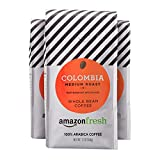 AmazonFresh Colombia Whole Bean Coffee, Medium Roast, 12 Ounce (Pack of 3)