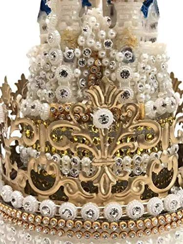 Crown Princess Castle Cake Topper Rhinestones Decoration For Birthday Sweet 16 Weddings 7'' H