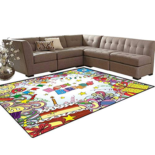 Birthday Door Mats Area Rug Greeting Card Inspired Artwork in Colorful Cartoon Style Festive Party Themed Anti-Skid Area Rugs 6'x9' Multicolor