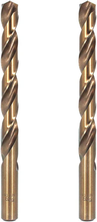 for Drilling in Stainless Steel and Cast Iron Hymnorq 1//2 Inch Fractional Size M35 Cobalt Steel Twist Drill Bit Set of 2pcs Jobber Length and Straight Shank Extremely Heat Resistant