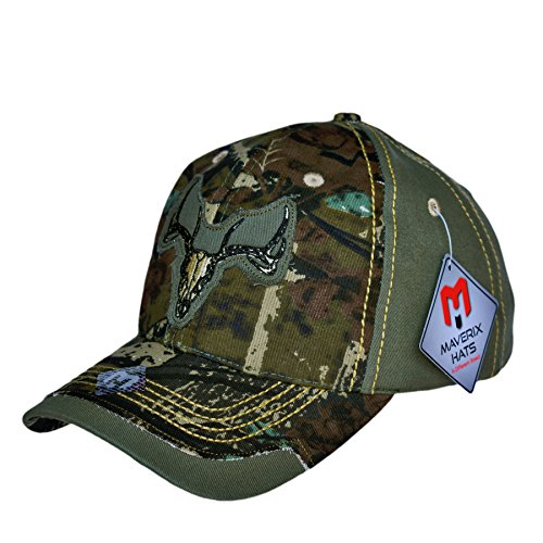 Camouflage Hat Deer Skull - Woodland Camo Cotton Twill Mens Camo Hat Girls Camo Hat Camaflouge Cap Washed Unisex Men Women Youth Kids Camouflage Boy Structured Twill Hunter Outdoor Best Shooting Washed Twill Camo