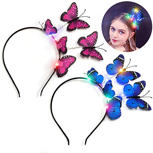 LED Women Butterfly Headband,Aniwon 2 PCS Light Up Party Headbands Hair Band Fashion Headbands for Girls Hair Accessories Wedding Party Supplies]()