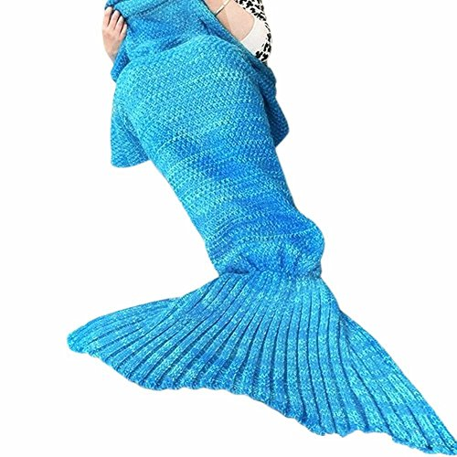 Child Tiger Lily Costume (Juissie Warm and Soft Mermaid Tail Blanket,Sleeping Bag Sofa Bed Snuggle Mermaid (180*90cm) (Sky Blue))