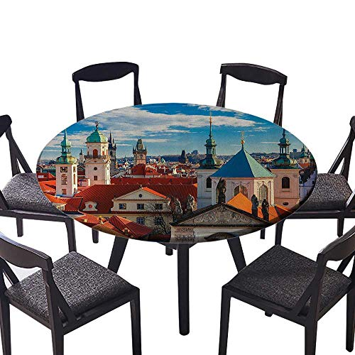 Round Fitted Tablecloth Domes of Churches ll Tower of The Old Town Hall Powder Tower Czech Republic for Home, Party, Wedding 59