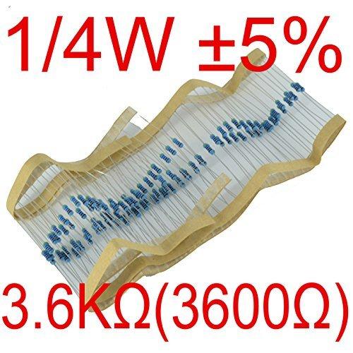 Puuli 100Pcs 1/4 Watt ±5% 0.25W 3600 Ohm 3.6kΩ Carbon Film Resistors