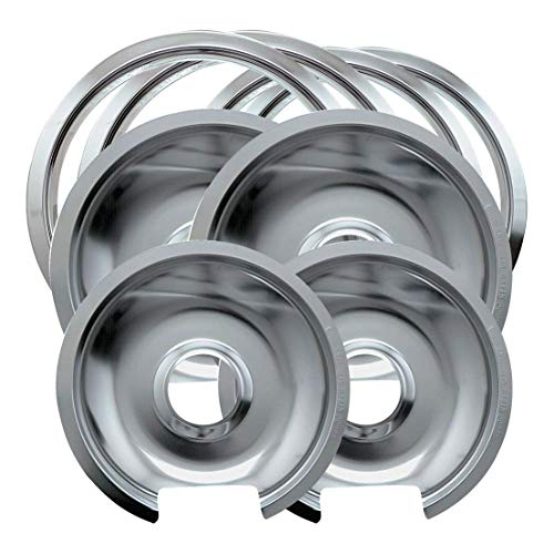 Electric Range Trim Ring - Range Kleen Style D Heavy Duty Drip Pans and Trim Rings (Includes 2 Small and 2 Large) for GE Hotpoint