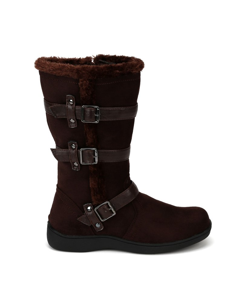 Little Angel Winter-722E Suede Fur Accent Buckle Strap Riding Boot (Little Girl/Big Girl) AF22 - Brown (Size: Little Kid 11) by Little Angel (Image #1)