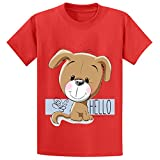 Toypop Cute Dog Isolated Boys And Girls Cotton Crewneck T Shirt DIY Red
