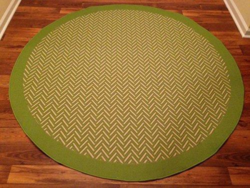 Nice IMS 2607R7184LGR/bg Herringbone Pattern Round Heavyweight Indoor Outdoor Rug,  Light Green Beige   6 Ft. X 6 In.