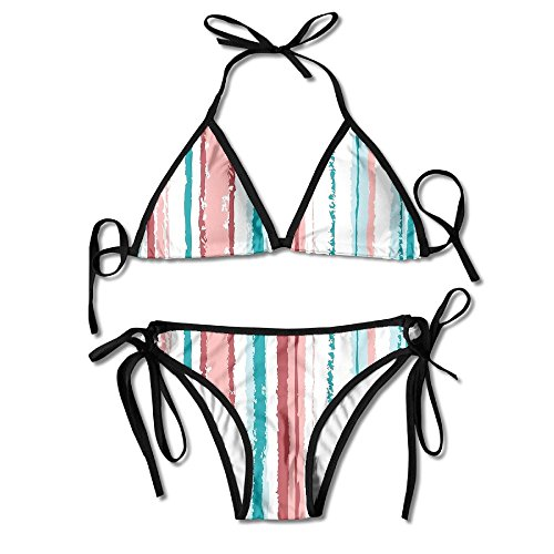 - Crayon Stripes Bikini Halter Swimsuit Triangle Bathing Suits for Women