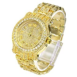 Iced Out Pave Gold Tone Men's Watch