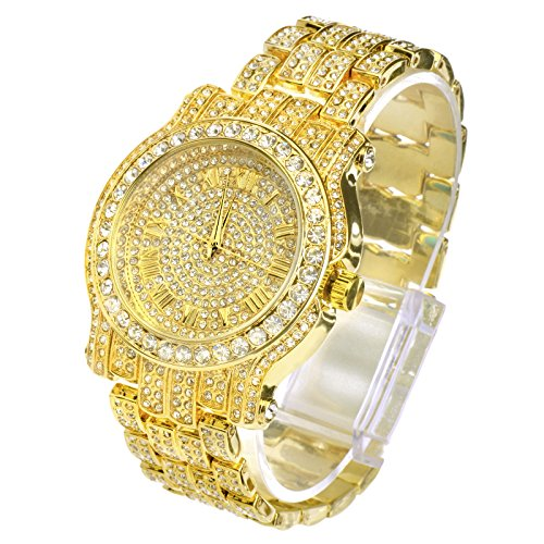 Diamond Gold Tone Grillz - Techno Pave Totally Iced Out Pave Gold Tone Hip Hop Men's Bling Bling Watch