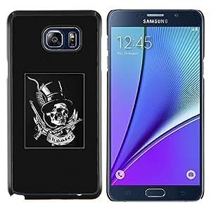 """Be-Star Único Patrón Plástico Duro Fundas Cover Cubre Hard Case Cover Para Samsung Galaxy Note5 / N920 ( Gris del sombrero de copa Armas rollo de la roca del metal"""" )"""