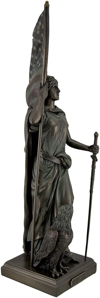 """14 1//2/"""" Lady Liberty Standing W American Flag and Eagle Statue Bronze Finish"""