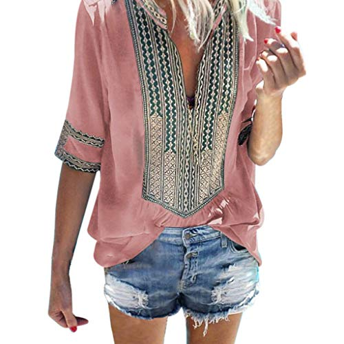 Dainzuy Ladies Sexy Casual Tops,Women Half Sleeve Deep V-Neck Print Loose Tops Blouse T-Shirt Pink