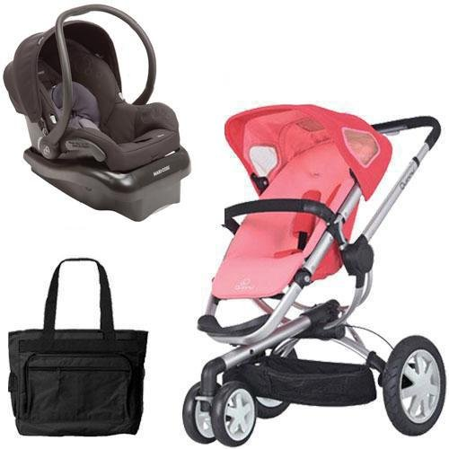 Quinny Buzz 3 Wheel Stroller (Quinny Buzz 3 Travel System in Pink Black with Diaper Bag)