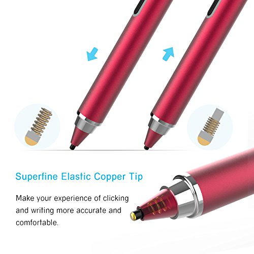 Active Stylus Pen, Ciscle Capacitive Digital Pen, 5 Mins Auto Power Off with High Precision Sensitivity 1.5mm Copper Tip, Fine Point Stylus for Touch Screen Devices, iPad/iPhone/Android Tablets-Red by Ciscle (Image #3)