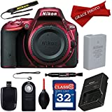 Nikon D5500 (Red) Digital SLR Camera with Deluxe Accessory Bundle (10 items)