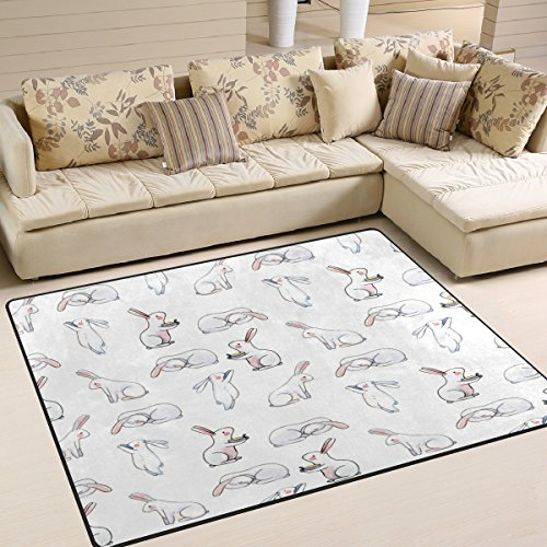 ALAZA White Watercolor Cute Rabbit Bunny Area Rug Rugs for Living Room Bedroom 7' x 5' (Bunny Rabbit Area Rugs)