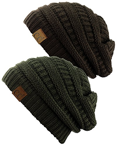 C.C Trendy Warm Chunky Soft Stretch Cable Knit Beanie Skully, 2 Pack Dark Olive/Brown