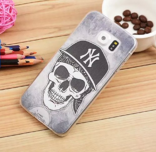 Fashion and Cute Colorful 3D Pattern Case for Samsung Galaxy S6 Edge Personality Cool Cartoon Back Cover + Big Mango Logo Strap (Skeleton)