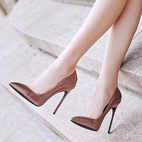 de 12cm Tacones Zapatos Banquete Profunda con Discoteca 10 Boca de los 12cm Mujer Bien de apuntaron Poco RwqxwazBd