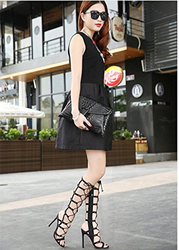 The free adjustment of the Barrel straps high-heeled boots female boots are cool Black 9HpKbVBpUm