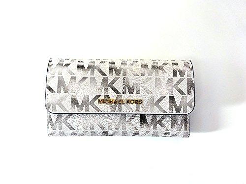 Michael Kors Jet Set Travel Large Trifold Leather Wallet Vanilla/Acorn