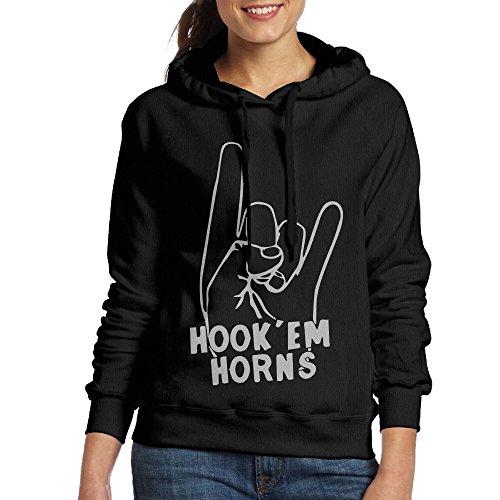 Wxf Women's Hook Em Horns Fashion Travel Black Sweater - Hook Up Em