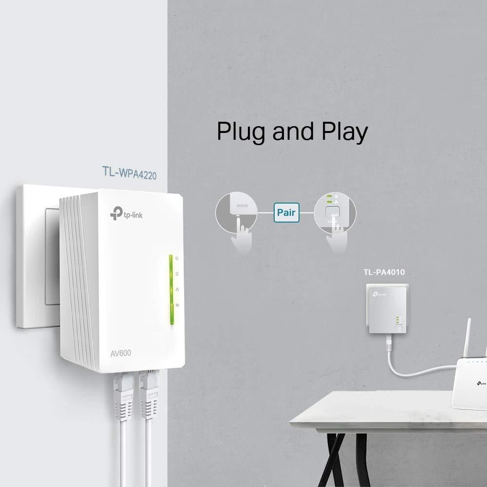 5 Puertos Pack de 3 Amplificador wifi Repetidores de Red Cable Ethernet TP-Link TL-WPA4220 TKIT Adaptadores internet por L/ínea El/éctrica PLC AV600+AC300