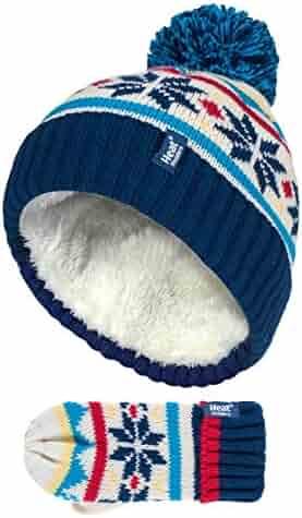 4aff9bfcafe Heat Holders - Kids Boys Knit Winter Fleece Insulated Pompom Hat and Mittens  Set