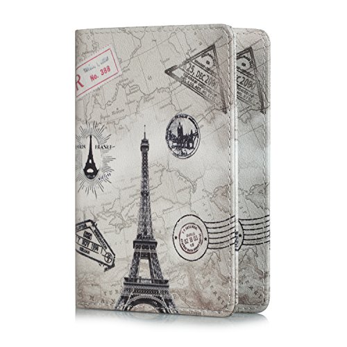 EpicGadget RFID Blocking Premium Leather Passport Holder Travel Wallet Cover Case (Eiffel Tower)
