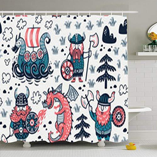 DaniulloRU Shower Curtains Set Hooks 72 x 78 Inches Ancient Three Vikings Dragon Ship Style Funny Baby Helmet Waterproof Fabric Decor Bathroom