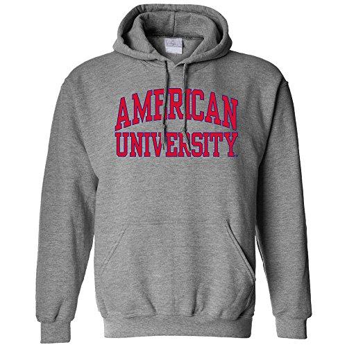 NCAA American University Eagles Long Sleeve Hoodie, Small, Athletic Heather