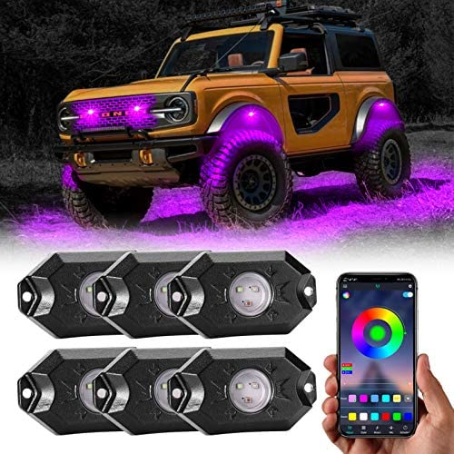 RGB Led Rock Lights, 6 Pods Underglow Multicolor Automotive Neon Accent Light Kits with App Control,Timing Music Mode Waterproof Exterior Wheel Light for Car Truck ATV RZR Utv SUV Off Road