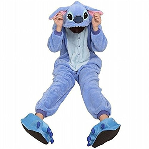 Yimidear Unisex Adult Pajamas Cosplay Costume Animal Onesie Sleepwear Nightwear (XL, Blue Stitch) (Couples Cosplay Costumes)