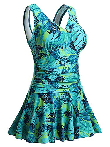 MiYang Women's Plus-Size Flower Printing Shaping Body One Piece Swim Dresses Swimsuit Green Leaf Printed ()