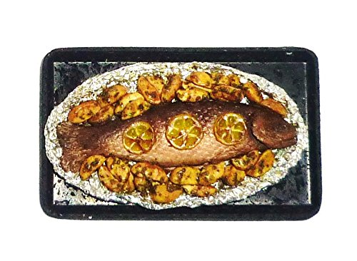 fish and potatoes on the foil Trays Tasty baked fish with potatoes Dollhouse miniature 1:12