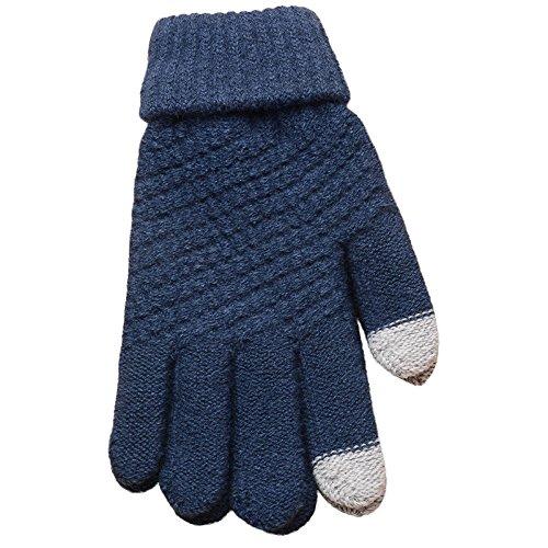 NRUTUP Knit Wool Man Women Winter Keep Warm Mittens Gloves (Blue,Free Size) ()