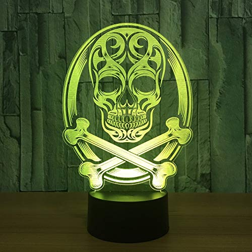 Zylxyd 3D Night Light Touch Led Bedroom Bedside Skull Lamp 7 Color-Changing Atmosphere Pirate Desk Lamp Kids Christmas Decor Sleep Light Gift