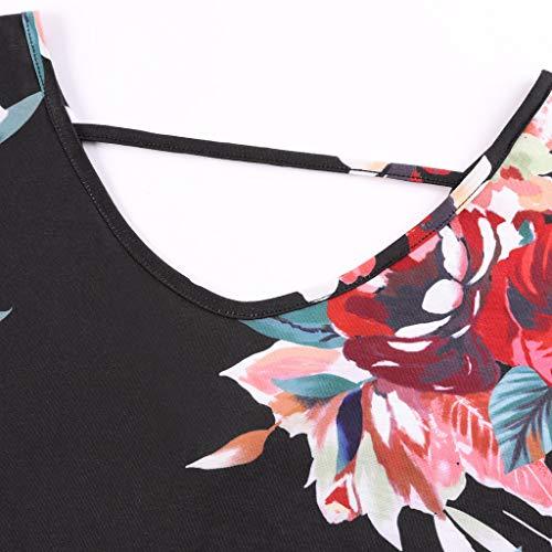 Lloopyting Women's Print Casual Loose Pocket Long Straight Dress Short Sleeve V-Neck Fashion Maxi Dress Black by Lloopyting (Image #6)