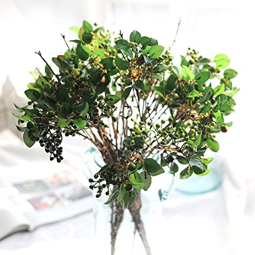 (Vovomay Artificial Flowers Leaf, Fake Flowers Silk Plastic Berry Vinegar Simulation Leaves- Bridal Wedding Bouquet for Home Garden Party Wedding Decoration (g))
